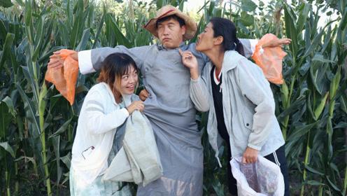 地里玉米总被偷,小伙伪装成稻草人,没想来俩寡妇,把小伙整掺了