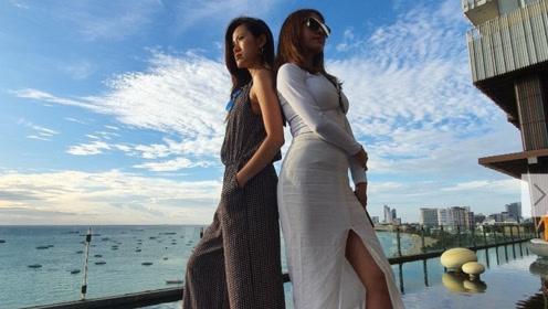 蔡依林海边度假穿开叉裙秀美腿 自侃旅行一趟又长高了