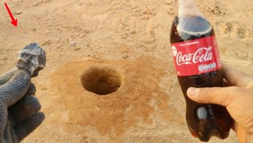 可乐和电石在一起时的反应是怎样的?老外实验,水:我可以退休了
