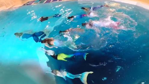 外国女生水下功夫强,穿美人鱼泳衣水下肆意徜徉,真是太美了