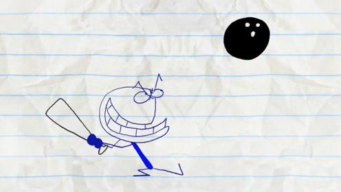 铅笔人在外面打棒球,却不小心砸到了人,吓得冷汗直流!
