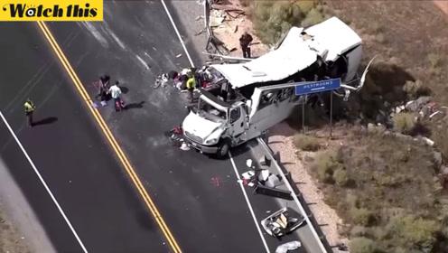 犹他州车祸造成多名中国公民伤亡 大巴受损严重车身已完全变形