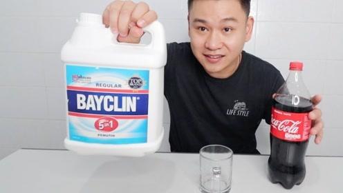 将漂白剂倒在可乐中,能将它漂成清水吗?网友:混合黑水会怎样