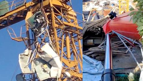 扬州一在建工地汽车吊作业时侧翻,吊臂砸中塔吊驾驶室致司机身亡