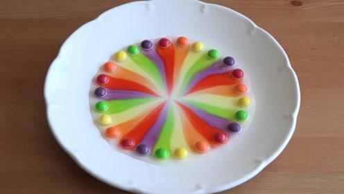 把MM豆摆成一圈放在碟子里,加点水,过程倒放是啥样?