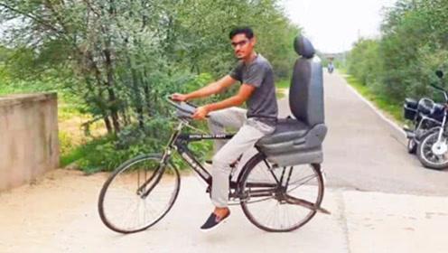 民间小伙改造的车子,将自行车骑出开车的感觉,场面太滑稽了!