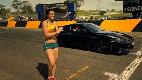 美女短跑运动员挑战超跑,十秒钟后,司机被逼放出大招!