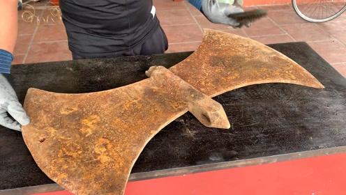 80元收的超级大斧头,翻新完用来劈柴有点浪费,力气小的都拿不动
