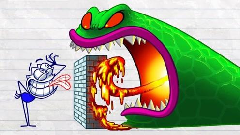 城市出现怪兽,铅笔人夺来作者铅笔,把自己画成了超级英雄!
