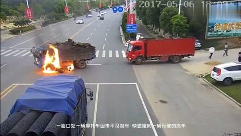 电动车男子撞向拐弯的货车起火,路人的反应太让人暖心