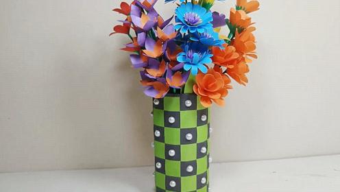 生活小妙招,网格纸花瓶的制作方法,简单又有创意!