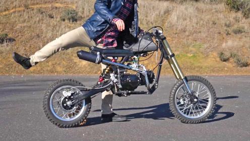 小哥动手能力真强,DIY一辆越野小摩托,试玩一下真带劲
