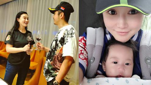 冉莹颖庆35岁生日,与邹市明喝红酒干杯,三胎儿子首出镜
