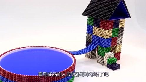 老外用巴克球打造别墅,还配有一个游泳池,网友:一看就是大户人家!