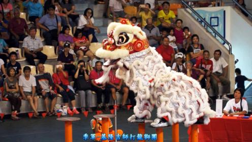 高桩舞狮比赛第三名,高桩舞狮表演欣赏