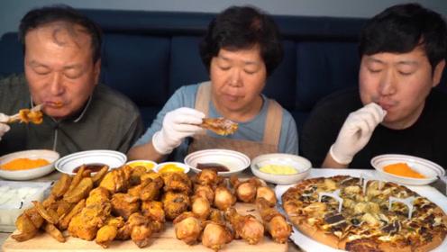 韩国农村一家人,胖儿子一人吃掉一半,大叔又要饿肚子了