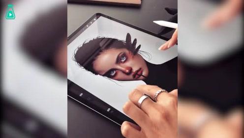 一波画风独特的人物肖像画,过程也引起舒适哇