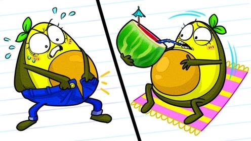 牛油果小姐食量惊人,很快将西瓜冰沙搞定,结果后悔不及!