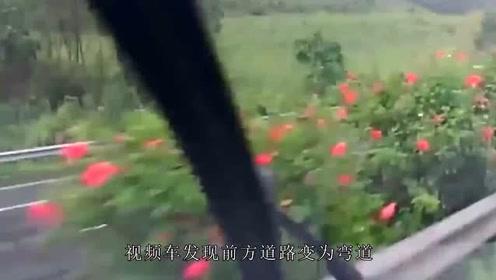 下大雨的高速上超速行驶,一个弯道就侧翻在地上转圈,监控记录惊魂7秒!
