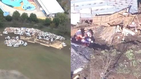 """航拍:日本台风过境后""""灾难垃圾""""被严格分类 民众往返20次清理"""