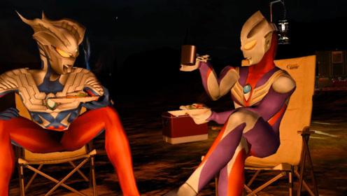 迪迦奥特曼和赛罗共进晚餐,打败了豹子精,这是在庆功吗?