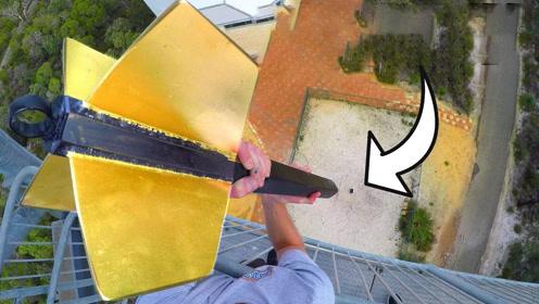 从45米高空扔下的巨型飞镖,非牛顿流体能抗住吗?好戏开始了!