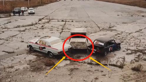 老外开着水泥浇筑的越野车撞轿车,一脚油门下去,场面彻底失控!