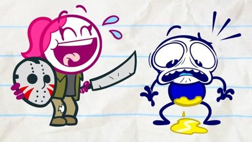 铅笔人小蓝和小粉被吓得瑟瑟发抖,到底是怎么回事呢?结局有点意外