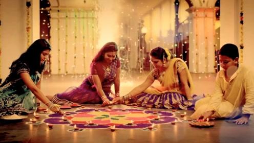 印度最大的节日排灯节,美女们集体出动,在不夜城中争奇斗艳