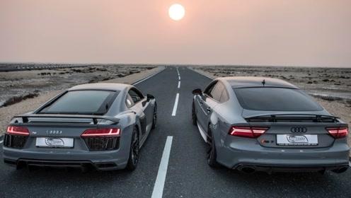是轿车快还是超跑快?奥迪RS7单挑奥迪R8,结局一目了然