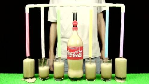 一瓶可乐同时倒在6个杯子里,牛人DIY小神器!