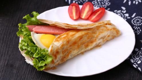 懒人早餐饼做法,不和面不揉面,营养又美味,5分钟就搞定