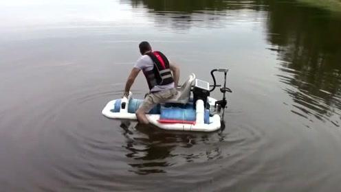 老外自己制作的钓鱼船、还真不错哦