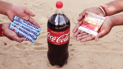 往一瓶可乐里加入小苏打会怎样?接触的瞬间简直不要太壮观