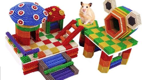 趣味手工秀:磁力珠做仓鼠小蘑菇乐园