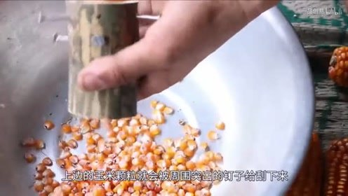 农村小伙发明玉米脱粒机,材料极其简单