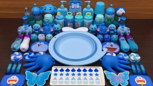 蓝色史莱姆教程,彩色亮片+机器猫起泡胶+亮色珍珠,好玩又解压!