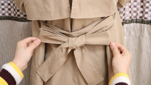 大衣腰带的打结方法,不少人见过但不会系,一看就会,超好看