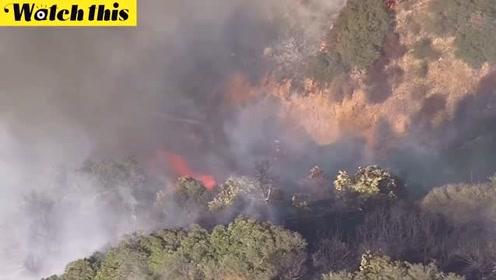 加州大火烧到华纳兄弟工作室附近 消防员紧急救火被烧伤
