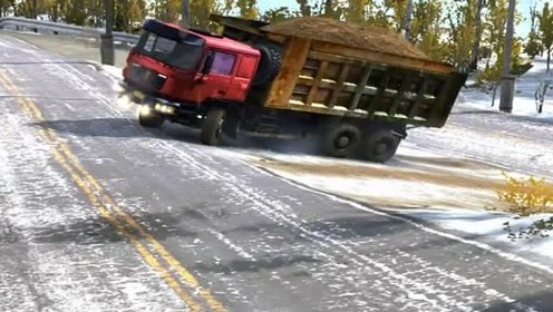 模拟驾驶:模拟驾驶大货车雪天上路,场景太真实了,货车司机真难!