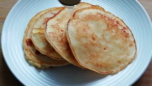 柔软好吃的早餐饼,柔软劲道,好吃营养,懒人的最爱!