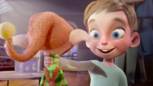 男孩在超市购物,发现圣诞小精灵,许下愿望和小精灵成为朋友!