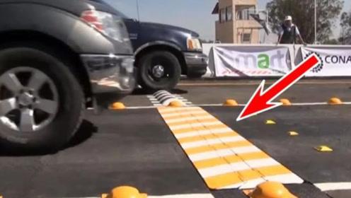 这款智能减速带,能自动判断车速升降,不减速通过后果会非常惨!