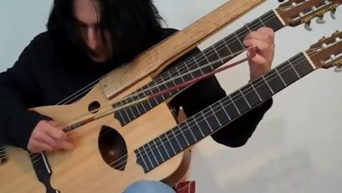 """老外打造出独一无二的,""""3头吉他"""",听到它的声音我服了"""