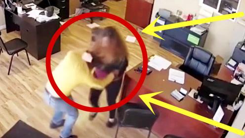 持刀劫匪抢劫美女不成反挨揍,监控记录激烈打斗全程!