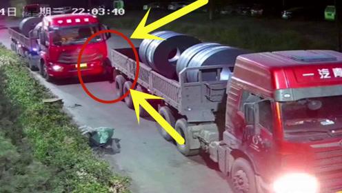 监控里的惊险一幕,大货车司机下车没拉手刹,接下来让人吃惊!