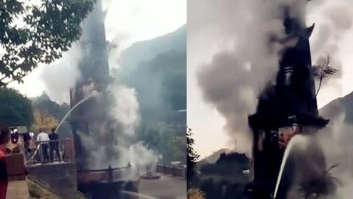痛心!四川文峰塔突发火灾,400年历史古塔被毁于一旦