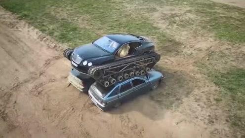 小伙把宾利汽车轮胎改装成履带,真是见识了,网友:家里有矿吧