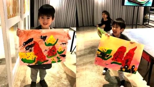 林志颖晒双胞胎儿子近照 兄弟俩都好有绘画天赋