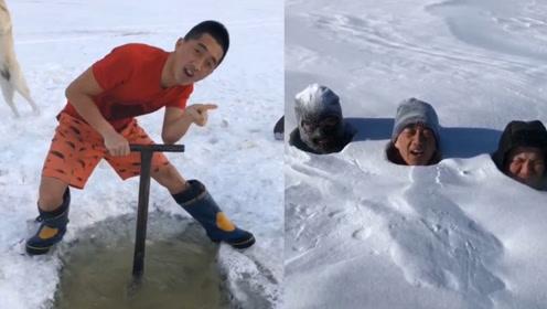 东北爷们儿:零下10度穿短袖捕鱼,钻积雪下上演真人版打地鼠